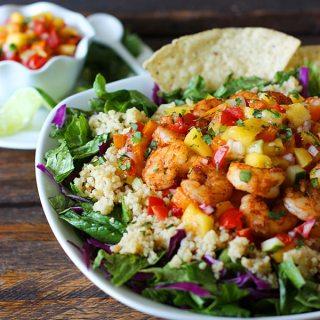 Spicy Shrimp & Sweet and Zesty Mango Salsa Cinco de Mayo Bowl | SoupAddict.com