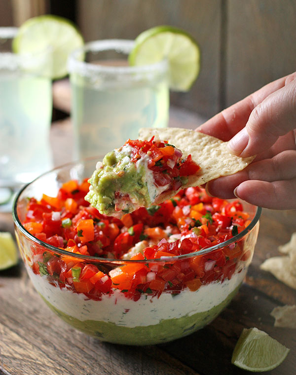 Beautiful Salsa Party Dip piled on a chip!