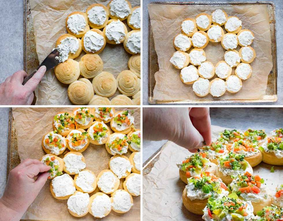 How to assemble Christmas Wreath Appetizers