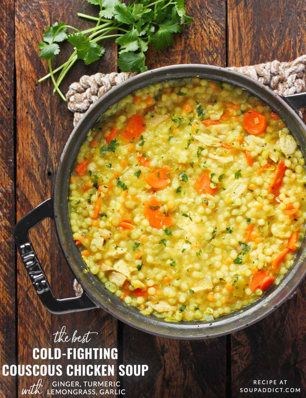 Cold-Fighting Couscous Chicken Soup - Recipe at SoupAddict.com