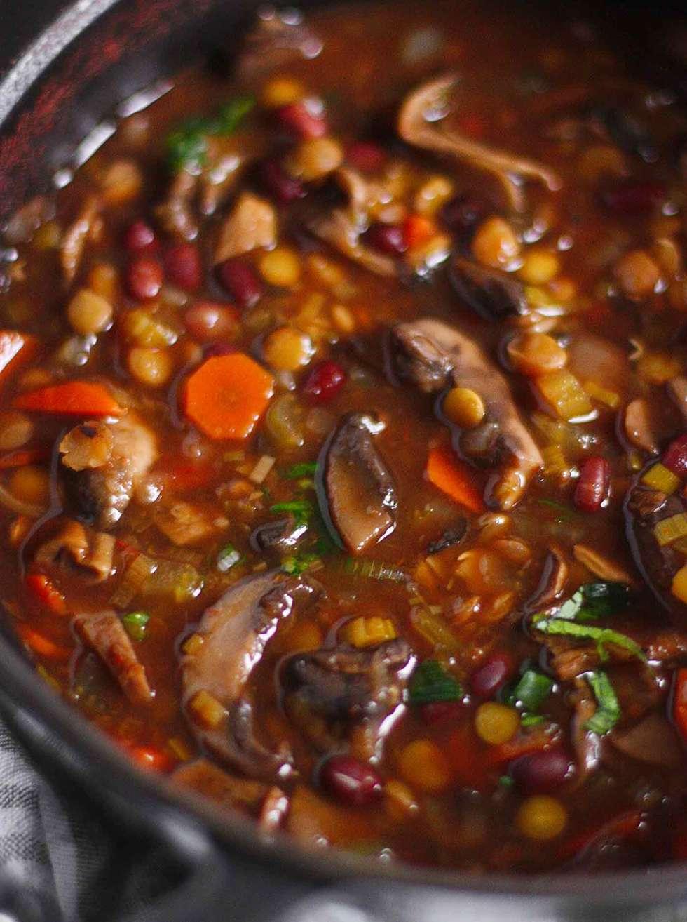Close-up of Mushroom Lentil Mushroom Soup in the pot