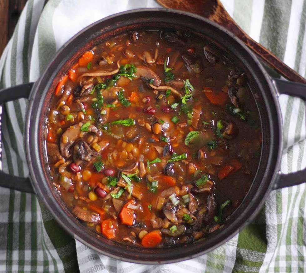 Mushroom Lentil Adzuki Bean Soup in a Dutch oven, ready to serve