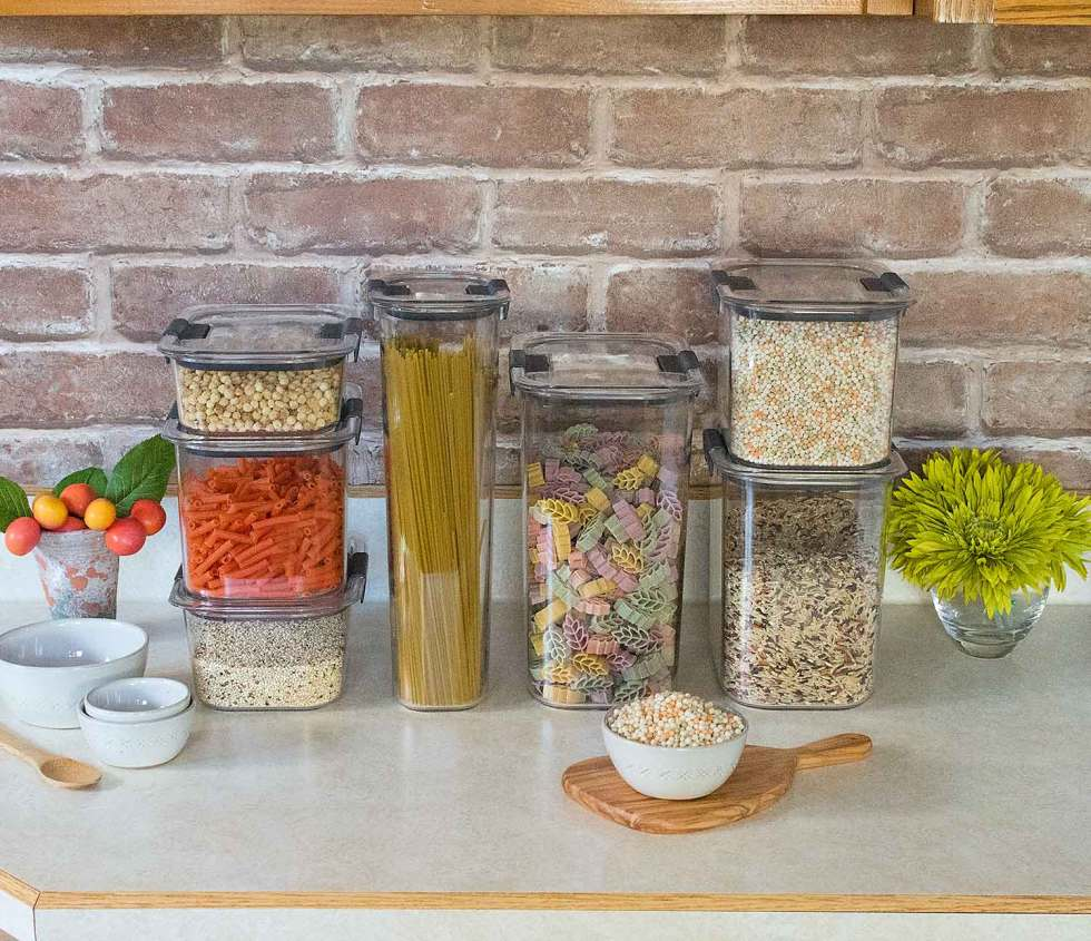 Pastas and grains for storage.