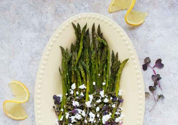Roasted asparagus on a serving platter.