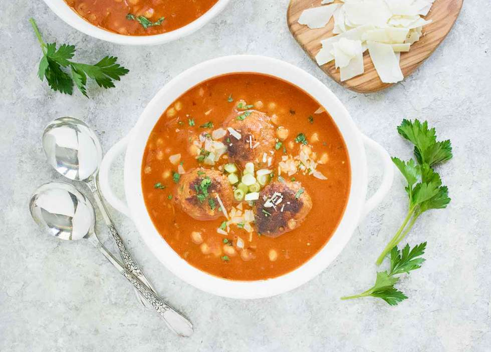 Instant Pot Italian Meatball Soup with Fregola Pastas in a bowl
