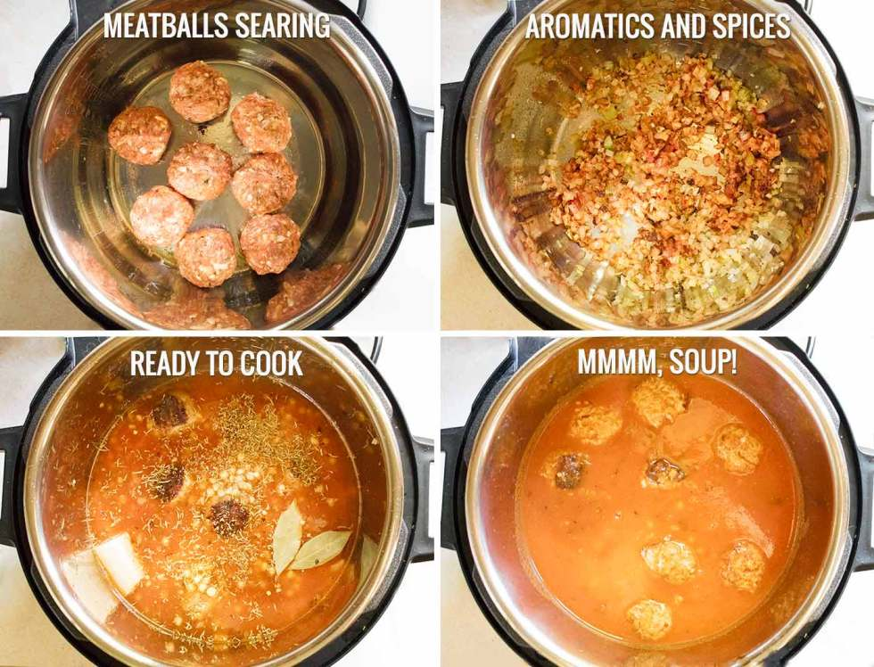 Steps to prepare Instant Pot Italian Meatball Soup with Fregola Pastas