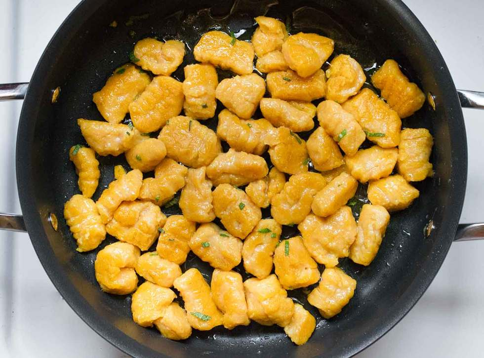 Pan-fried pumpkin gnocchi for creamy pumpkin soup