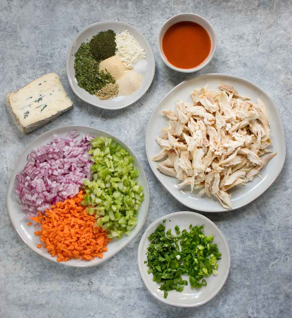 Ingredients for Buffalo Blue Cheese Chicken Soup