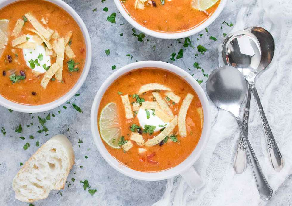 Instant Pot Chicken Tortilla Soup ready to serve