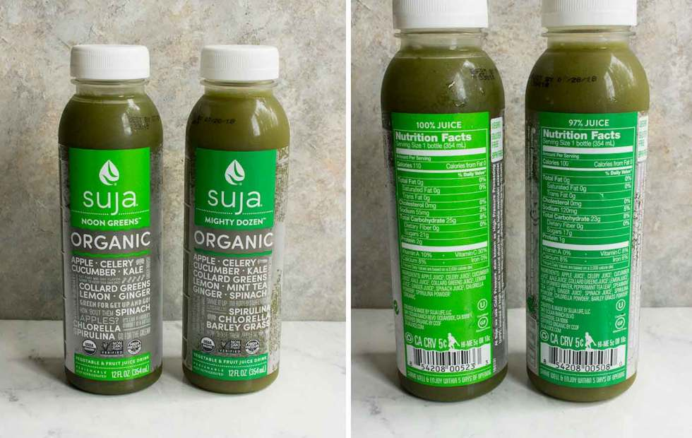 Suja green juice, available at many retailers