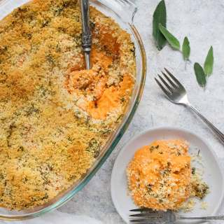 Savory Sweet Potato Casserole in the dish and on a plate