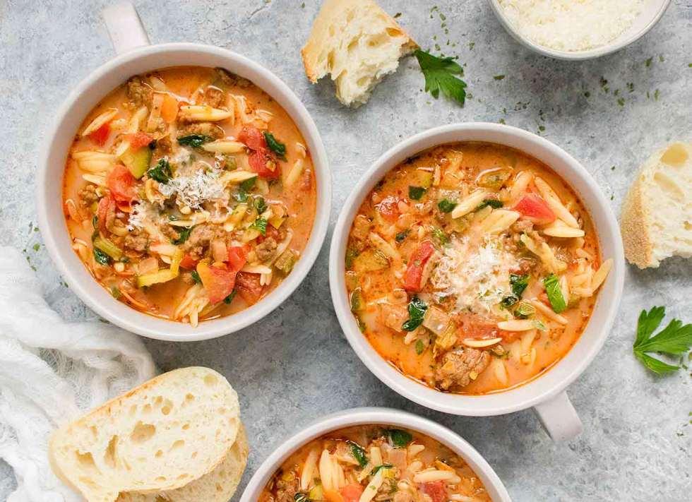 Three bowls of Italian Sausage Orzo Soup