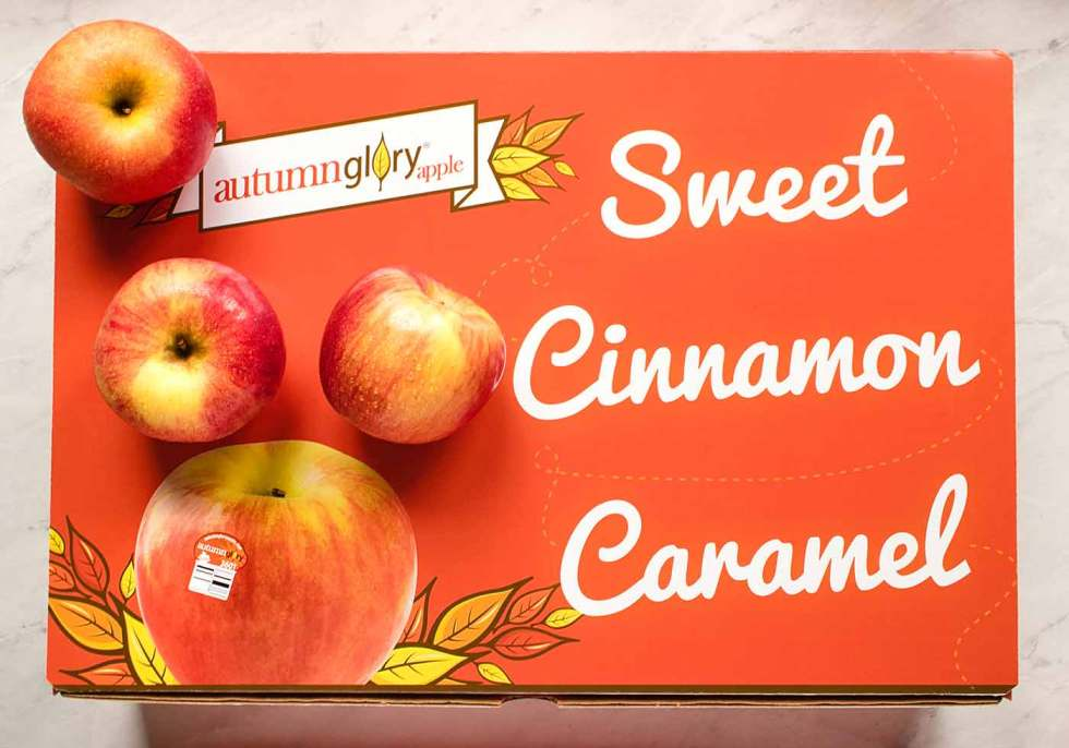 A box of Autumn Glory Apples