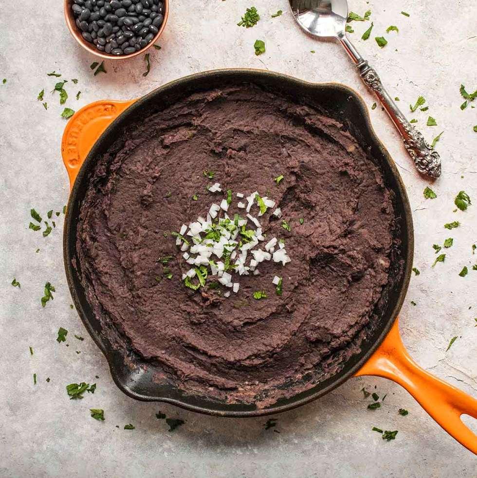 Instant pot refried black beans in large skillet