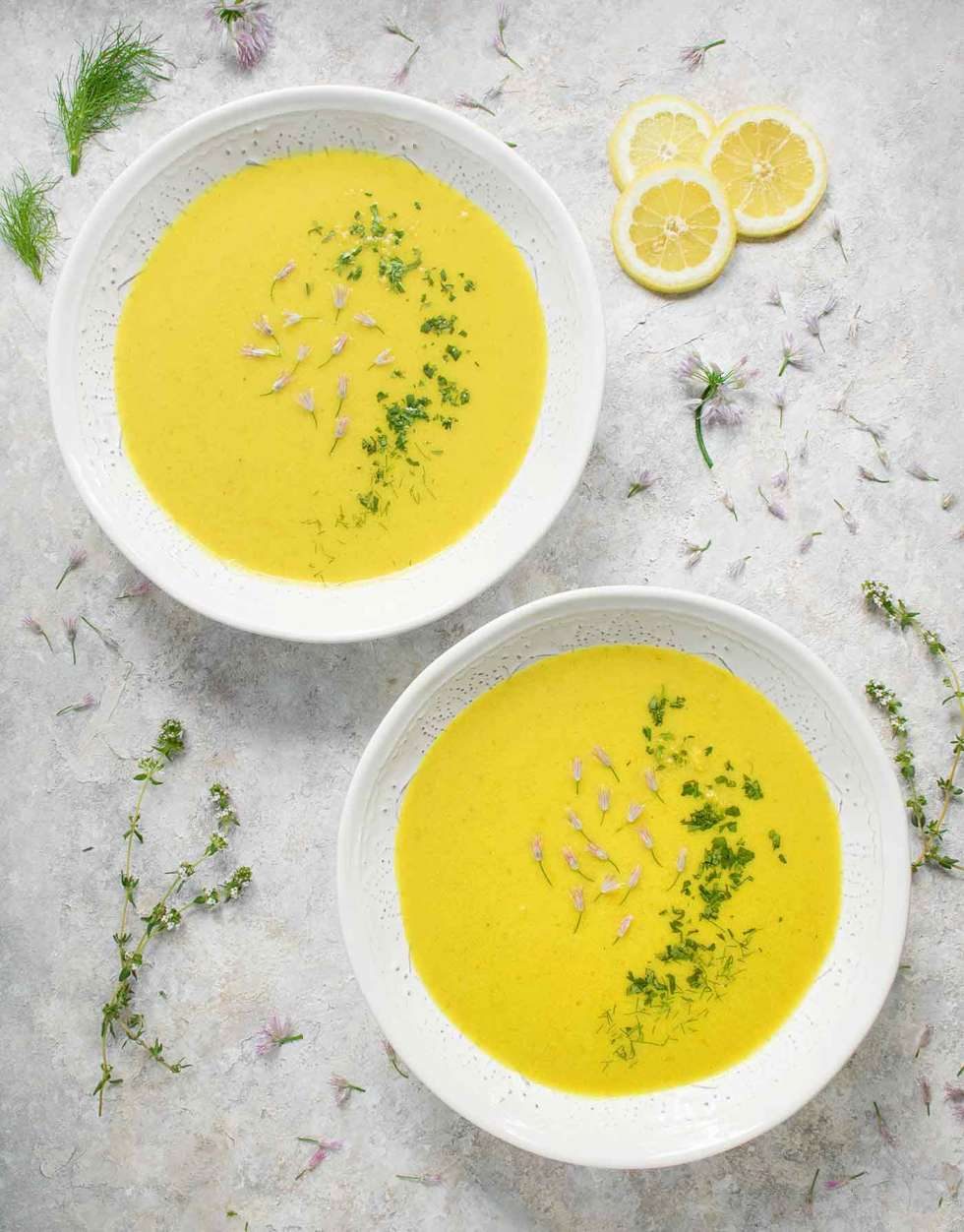 Two bowls of Spring Cauliflower Fennel Soup