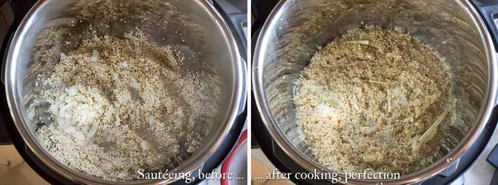 Quinoa cooking in the Instant Pot, before and after