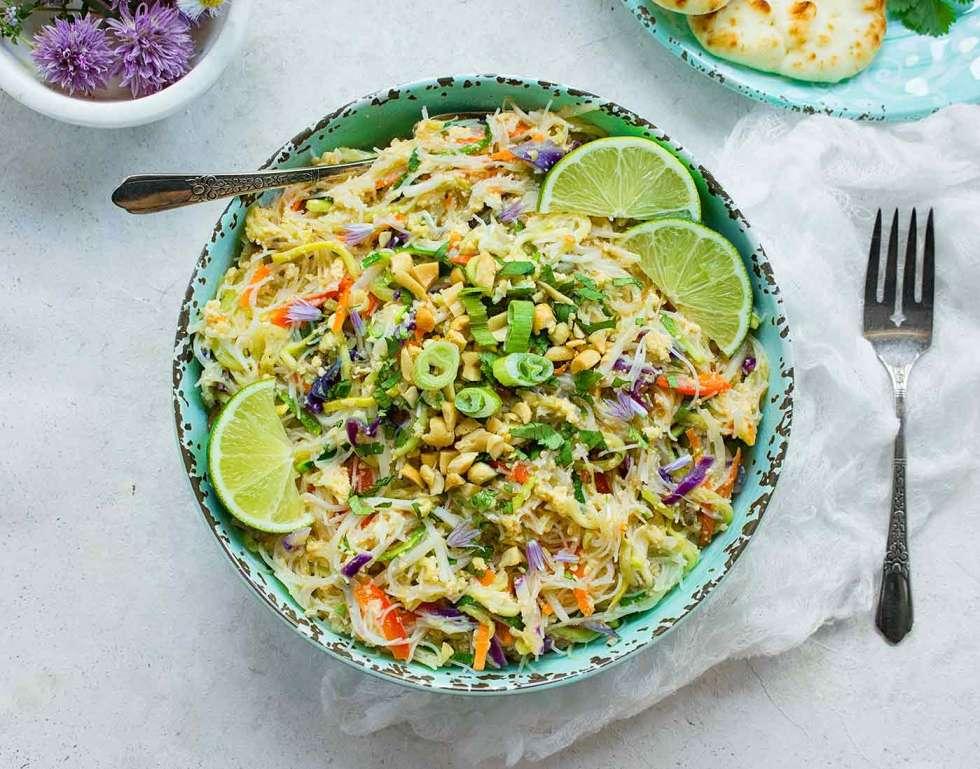 Rainbow Pad Thai in a bowl