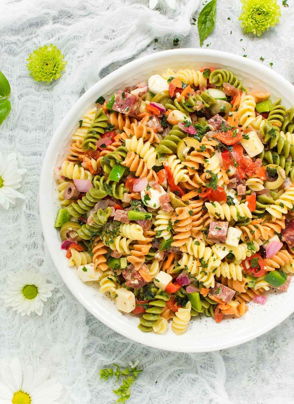 Italian Pasta Salad in a large white bowl