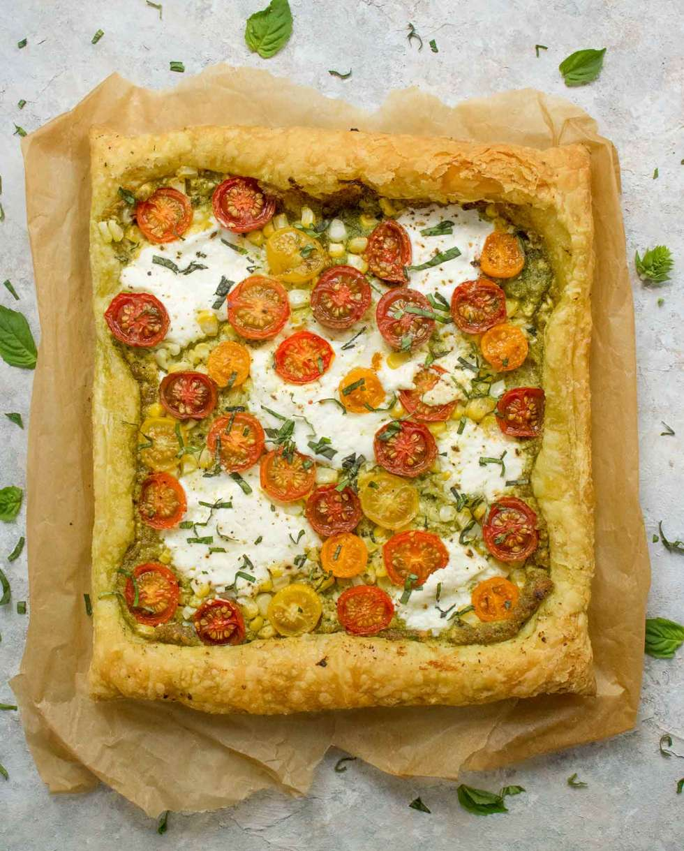 Puff Pastry Tomato Corn Tart fresh out of the oven