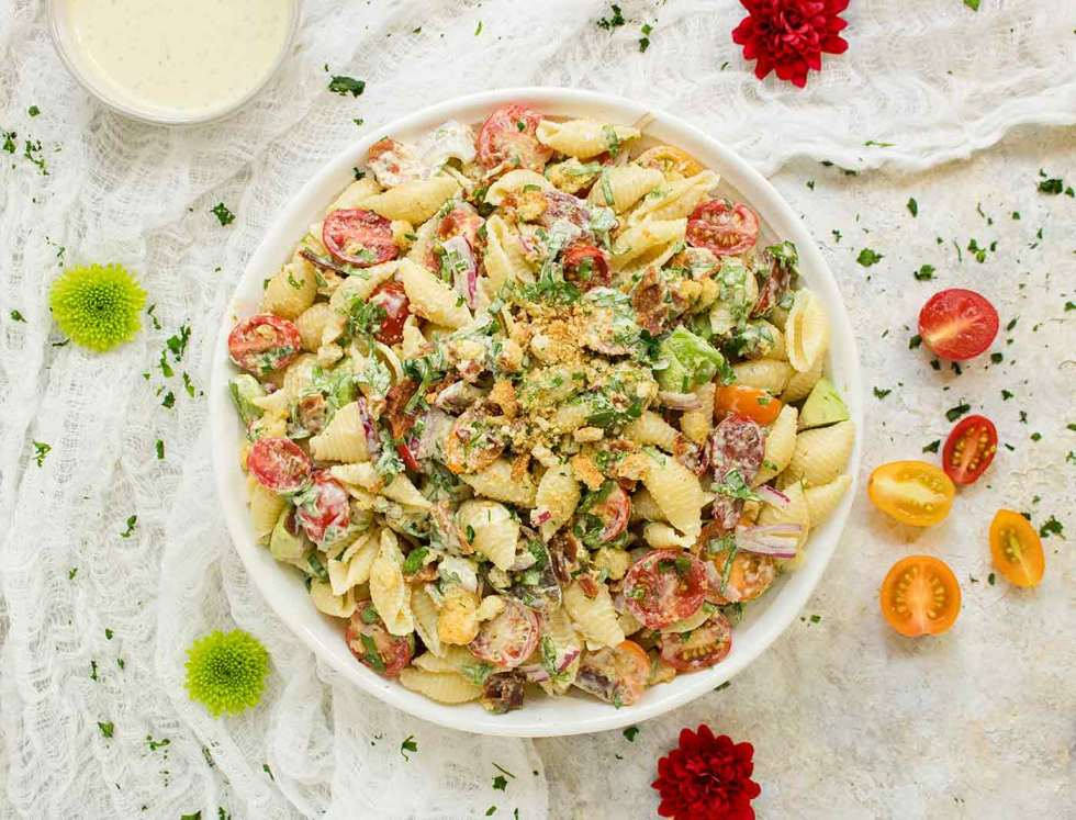 BLT Pasta Salad in a big white bowl