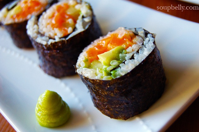 Sushi rolls – Spicy Salmon, Philly, and Shrimp Tempura