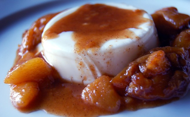 Panna Cotta with Peach Compote