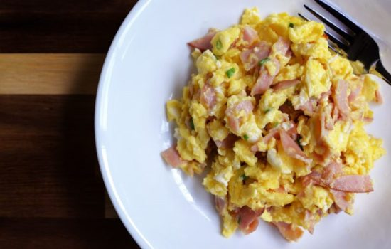 Creamy Scrambled Eggs (ham and cheese)