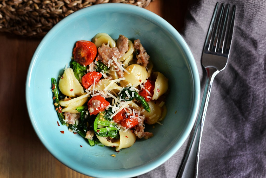 Orecchiette with Sausage, Broccoli Rabe and Roasted Cherry Tomatoes