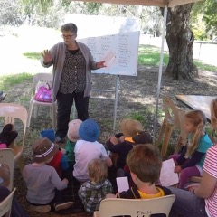 Photo of Lorraine Marwood presenting as part of a series of creative workshops on the Campaspe River in Elmore called Exploring the Campaspe. Photo by Meg Doller, Project Manager.