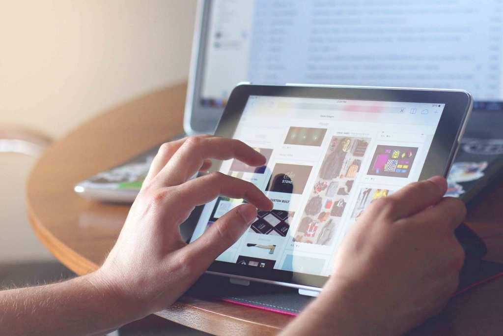 Loja online em tablet