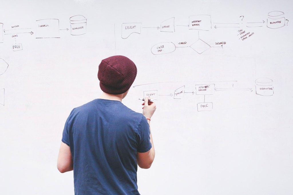 Homem a planear objetivos estratégicos de empresa