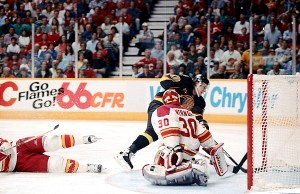 >Perhaps Pavel Bure's finest moment as a Canuck: Scoring against Flames goalie Mike Vernon during double overtime in Game 7 of 1994 Western Conference quarterfinal at Saddledome in Calgary. Bure's goal kick-started Canucks' run to Stanley Cup final. &#151