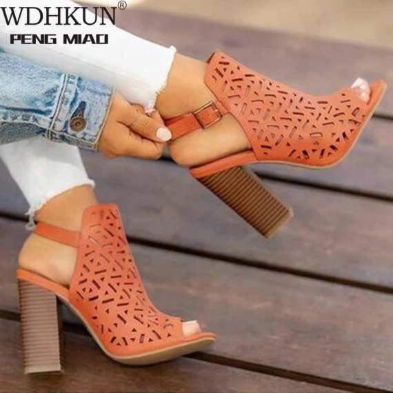 Women Sandals Ankle Strap Summer Shoes Carved High Heels Sandals Plus Size 34-43 Hollow Out Open Toe Party Wedding Sandals