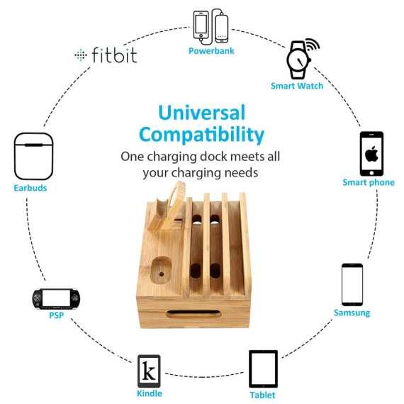 Multifunctional Mobile Phone Holder Stand Bamboo Station Dock Desktop Docking Station Organizer For Phone Smart Watch Tablet 5