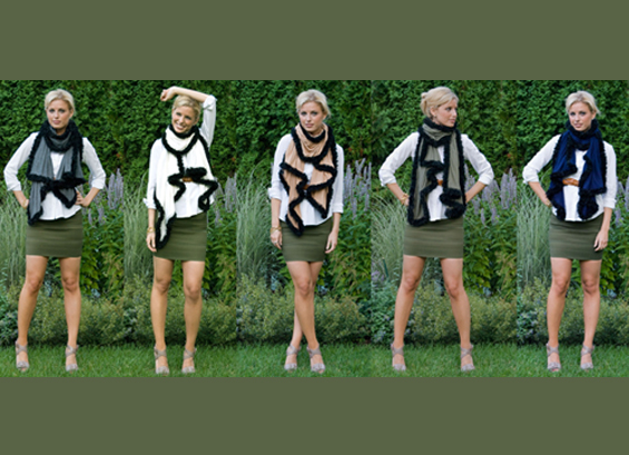 The clothing and accessory line ash&dans features scarves and other embellished jersey pieces. (Niki Dankner, Class of '11)