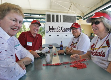 On March 19, 2011, alumni, parents and friends, including Sharon and Ralph Thaman (left), gathered in Jupiter, Fla., to watch a spring training game between the St. Louis Cardinals and the Florida Marlins. (Reinhold Matay)