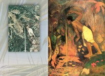 """In Pape Moe (1893; Oil on canvas, 99 x 75 cm; Private collection), Paul Gauguin reflects Charles Spitz' photograph Samoan Woman at Waterfall (by 1886; Photograph, reproduced in colored Gillotage; In collection of Christian Beslu, Tahiti). According to Childs, Gauguin's """"not interested in being precise but wants to take elements from this culture that can help him weave a good story, a good myth."""""""