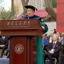 Chancellor Wrighton delivers a keynote address during the opening ceremony of Xi'an Jiaotong University's 120th anniversary celebration. Wrighton joined academic leaders from around the world and government representatives in the opening ceremony.