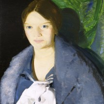 "George Wesley Bellows (American, 1882–1925), ""Portrait of Geraldine Lee,"" No. 1, 1914. Oil on panel, 22 3/8 x 18 5/16"". Mildred Lane Kemper Art Museum, Washington University in St. Louis. University purchase, Bixby Fund, 1966."