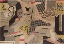 "Stuart Davis (American, 1892–1964), ""Flying Carpet,"" 1942. Wool, broadloom weave rug, 81 3/4 x 117 x 7/16"". Mildred Lane Kemper Art Museum, Washington University in St. Louis. University purchase, Kende Sale Fund, 1946. © Estate of Stuart Davis / Licensed by VAGA, New York."