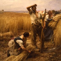 "Léon Lhermitte (French, 1844–1925), ""La moisson (The Harvest),"" 1883. Oil on canvas, 92 x 104 5/16"". Mildred Lane Kemper Art Museum, Washington University in St. Louis. University purchase, Parsons Fund, 1912."