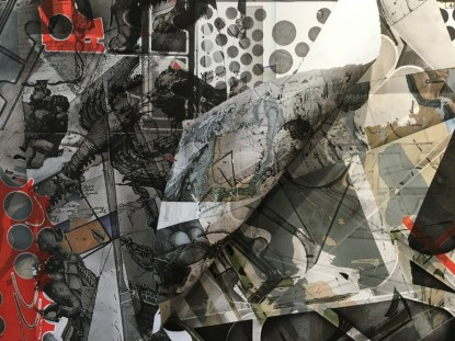 "Carmon Colangelo, detail, ""Precarious World,"" 2016. Print assemblage: monotype, digital and relief print, 72"" x 74"". (Courtesy of the artist)"