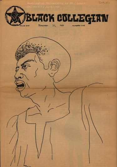 "Cover of the student publication ""Black Collegian,"" Nov. 22, 1968. (Washington University Archives)"