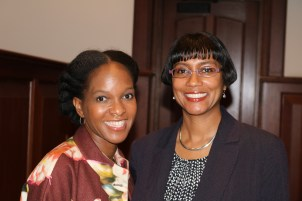 Imani Perry (left), the Hughes-Rogers Professor of African-American Studies at Princeton University, delivered the keynote address for the Chancellor's Graduate Fellowship 25th anniversary celebration and alumni reunion Friday, Oct. 14, 2016. Here, she meets with Sheri Notaro, director of CGFP and associate dean of the Graduate School. (Photo: Amy Gassel)