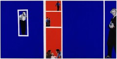 "Rosalyn Drexler (American, b. 1926), ""Home Movies,"" 1963. Acrylic, oil, and paper collage on canvas, 48 1/2 x 96 1/8"". Hirshhorn Museum and Sculpture Garden, Smithsonian Institution, Washington, DC, Gift of Joseph H. Hirshhorn, 1966. © 2017 Rosalyn Drexler / Artists Rights Society (ARS), New York."