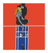"Rosalyn Drexler (American, b. 1926), ""Love and Violence,"" 1963. Acrylic, oil, and paper collage on canvas, 67 3/4 x 60 3/4"". Collection of Beth Rudin DeWoody. © 2017 Rosalyn Drexler / Artists Rights Society (ARS), New York."