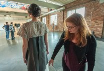 Designer Emily Lunt preps Emily Helling of CENTRO Models. (Photo: Joe Angeles/Washington University)