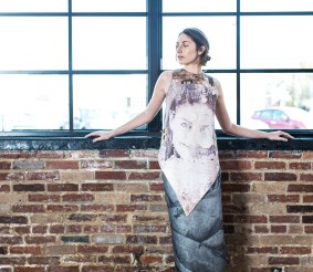 """Sienna Feher of CENTRO Models wears a printed top and skirt by Maximillian Suiter. Titled """"Palimpsest,"""" his thesis collection was inspired by assemblage artists such as Joseph Cornell and Kurt Schwitters. (Photo: Jennifer Silverberg/Washington University)"""