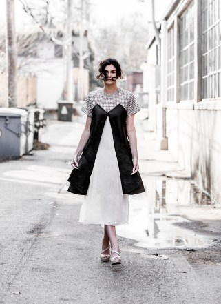 """Emily Helling of CENTRO Models wears a layered dress by designer Emily Lunt, from her collection """"Reverie."""" (Photo: Jennifer Silverberg/Washington University)"""