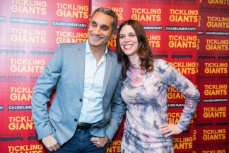Bassem Youssef and Sara Taksler, AB '01, at the New York premier of Tickling Giants.